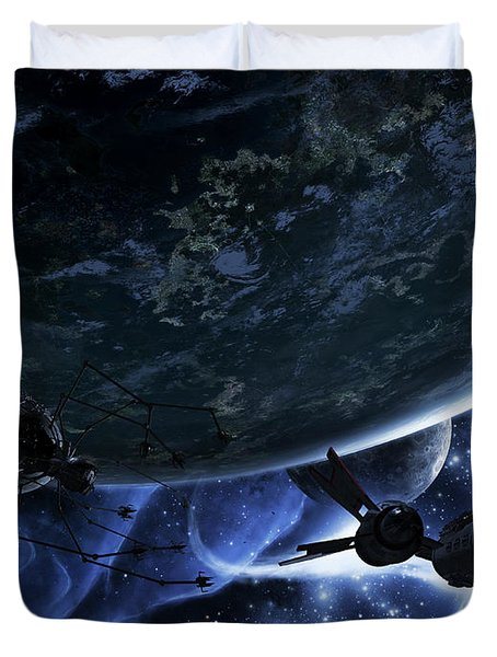 Vulture Ships Hunt Down And Dismantle Duvet Cover by Brian Christensen