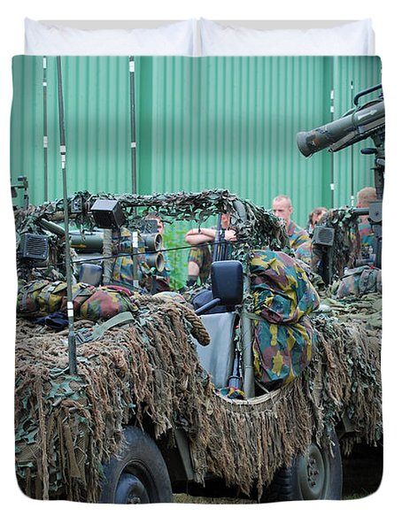 Vw Iltis Jeeps Of A Recce Scout Unit Duvet Cover by Luc De Jaeger