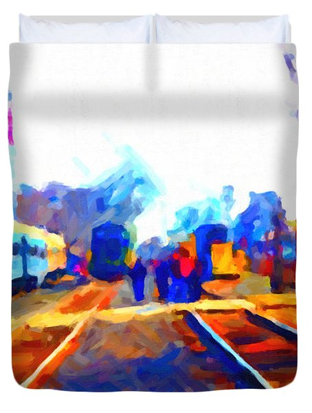 Walking On The Train Tracks In Old Sacramento California . Painterly . Vision 2 Duvet Cover by Wingsdomain Art and Photography
