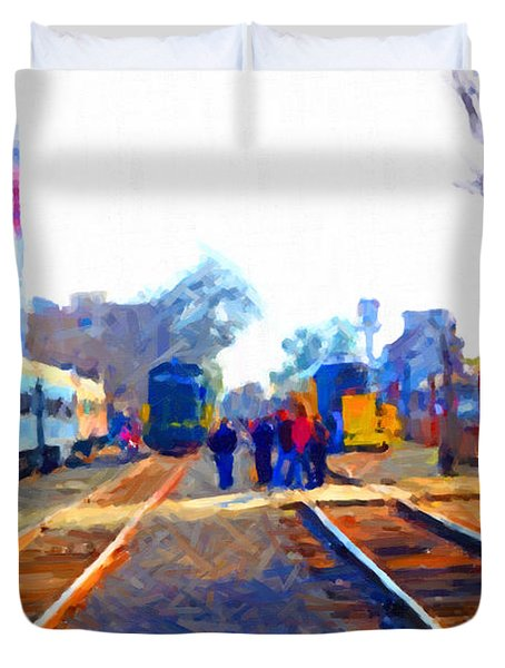 Walking On The Train Tracks In Old Sacramento California . Painterly Duvet Cover by Wingsdomain Art and Photography