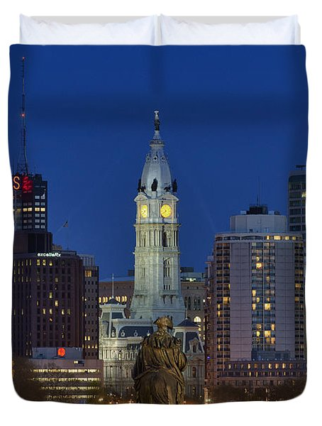 Washington Monument and City Hall Duvet Cover by John Greim