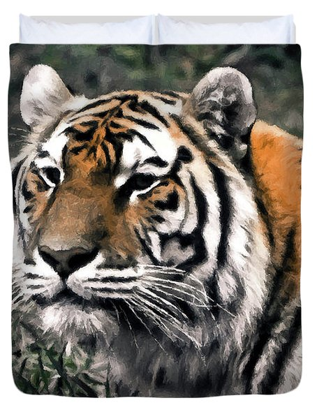 Watchful Bengal Tiger - Brush Stroke Duvet Cover by Darcy Michaelchuk