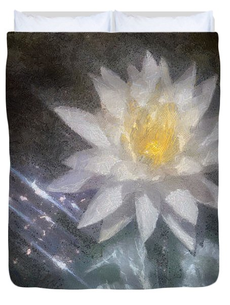 Water Lily in Sunlight Duvet Cover by Jeff Kolker