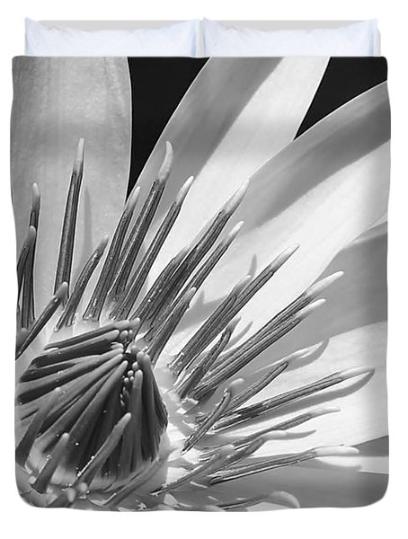 Water Lily Macro In Black And White Duvet Cover by Sabrina L Ryan