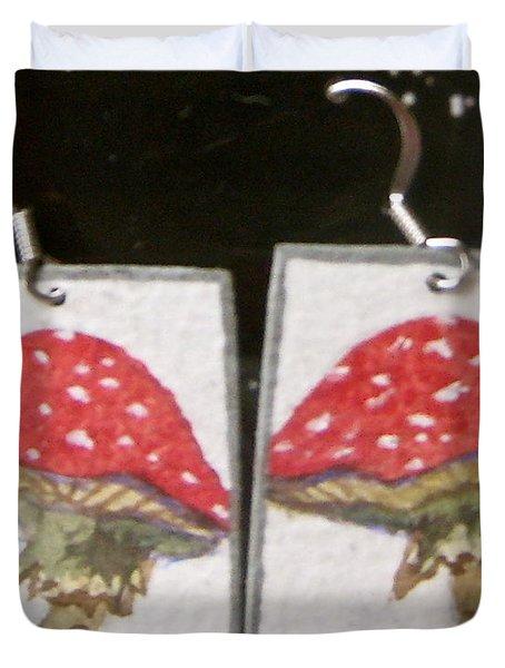Watercolor Earrings Amanita Duvet Cover by Beverley Harper Tinsley