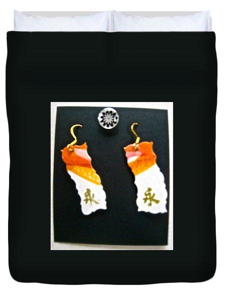Watercolor Earrings Eternity Orange White Gold Duvet Cover by Beverley Harper Tinsley