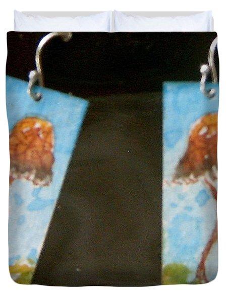 Watercolor Earrings Slender  Mushroom Duvet Cover by Beverley Harper Tinsley