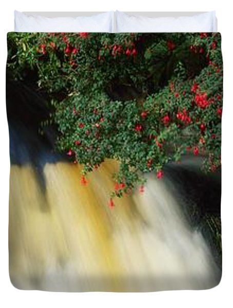 Waterfall And Fuschia, Ireland Duvet Cover by The Irish Image Collection