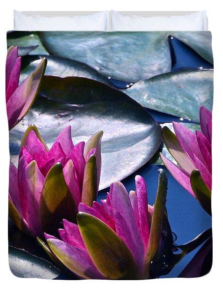 Waterlilies In Bright Sunlight Duvet Cover by Byron Varvarigos