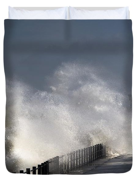 Waves Crashing By Lighthouse At Duvet Cover by John Short