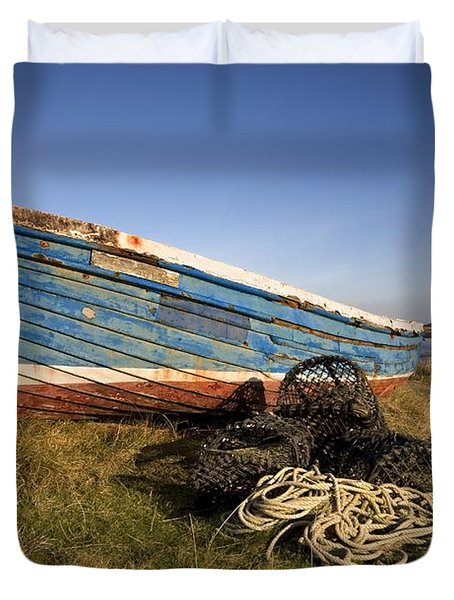 Weathered Fishing Boat On Shore, Holy Duvet Cover by John Short