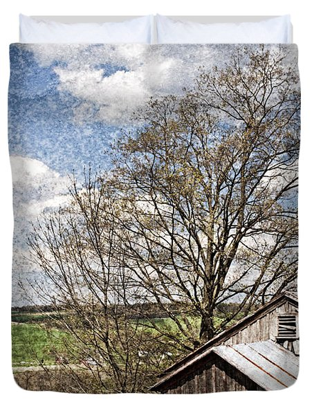 Weathered Hillside Barn Spring Duvet Cover by John Stephens