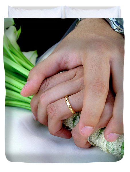Wedding Rings Duvet Cover by Carlos Caetano
