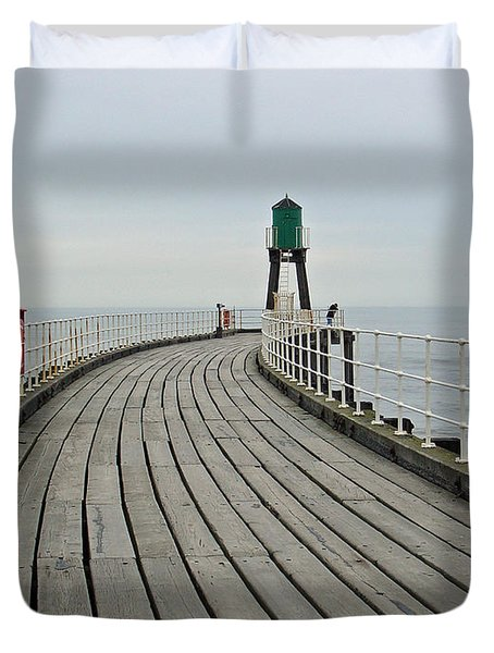 West Pier And Beacon Duvet Cover by Rod Johnson