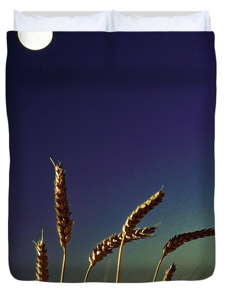 Wheat Field At Night Under The Moon Duvet Cover by The Irish Image Collection