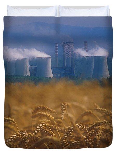 Wheat Fields And Coal Burning Power Duvet Cover by David Nunuk
