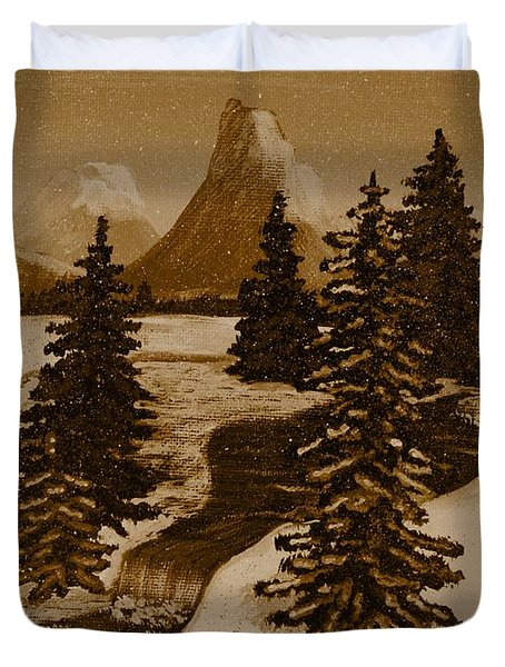 When it Snowed in the Mountains Duvet Cover by Barbara Griffin