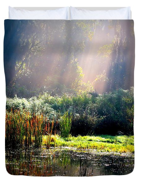 When Morning Hits The Marsh Duvet Cover by Carol Groenen