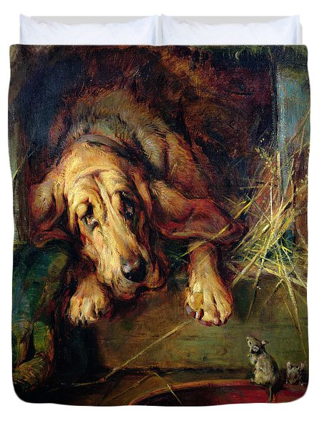 When The Cat's Away The Mice Will Play  Duvet Cover by Philip Eustace Stretton