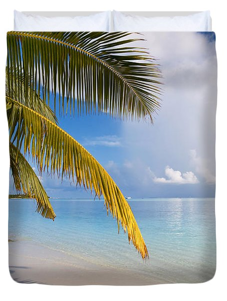 Whispering Palm On The Tropical Beach Duvet Cover by Jenny Rainbow