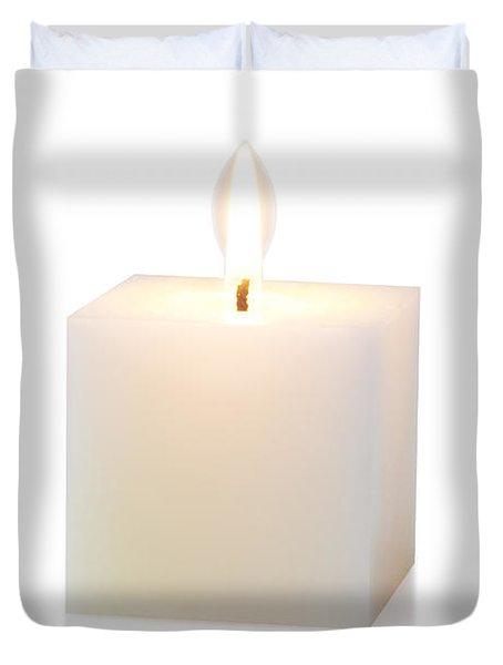 white cubic candle Duvet Cover by ATIKETTA SANGASAENG