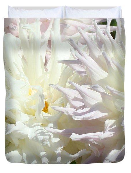 White Dahlia Flowers Art Prints Floral Duvet Cover by Baslee Troutman