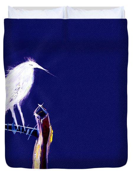 White Egret Duvet Cover by Anil Nene