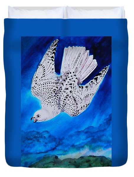 White Falcon Mascot Duvet Cover by Phyllis Barrett