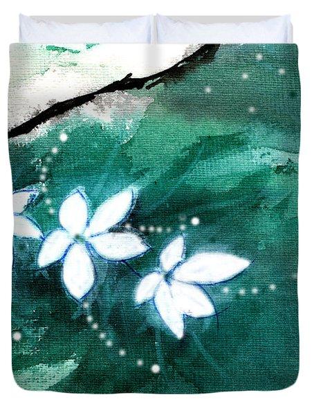 White Flowers Duvet Cover by Anil Nene