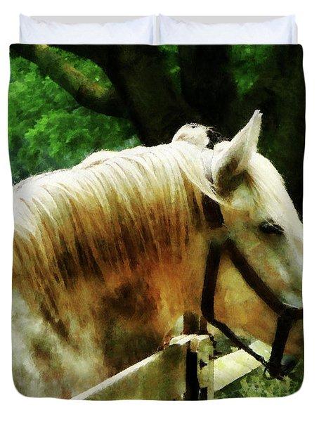 White Horse Closeup Duvet Cover by Susan Savad