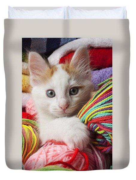 White Kitten Close Up Duvet Cover by Garry Gay