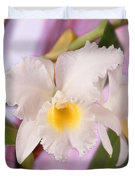 White Orchid Duvet Cover by Mike McGlothlen