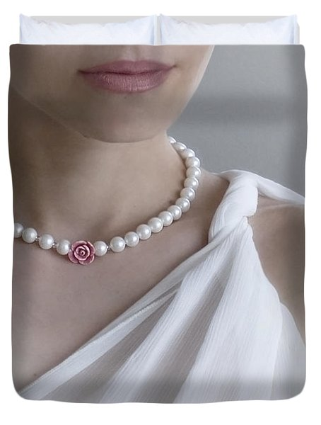 White Pearls Duvet Cover by Eena Bo