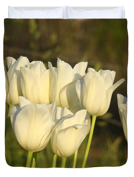 White Tulip Flowers Art Prints Spring Green Garden Duvet Cover by Baslee Troutman