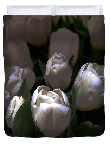 White Tulips Duvet Cover by Dale   Ford
