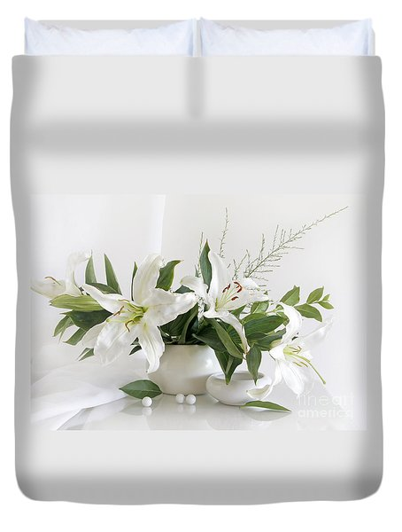 Whites Lilies Duvet Cover by Matild Balogh