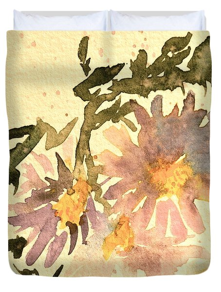 Wild Asters Aged Look Duvet Cover by Beverley Harper Tinsley