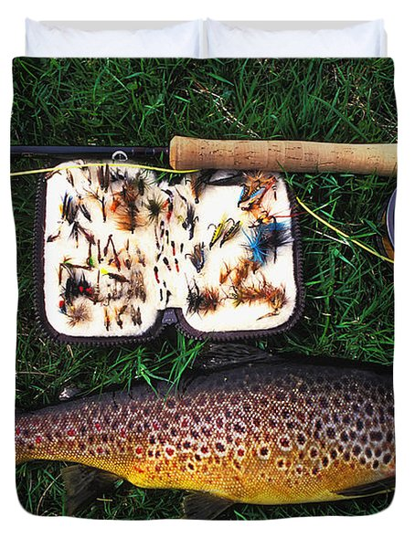 Wild Brown Trout And Fishing Rod Duvet Cover by Axiom Photographic