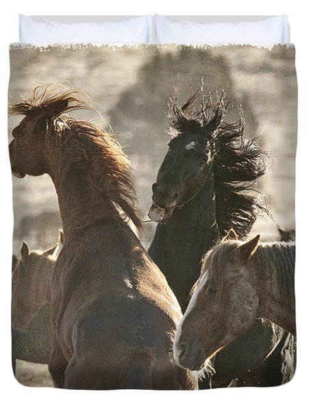 Wild Horse Battle D1713 Duvet Cover by Wes and Dotty Weber