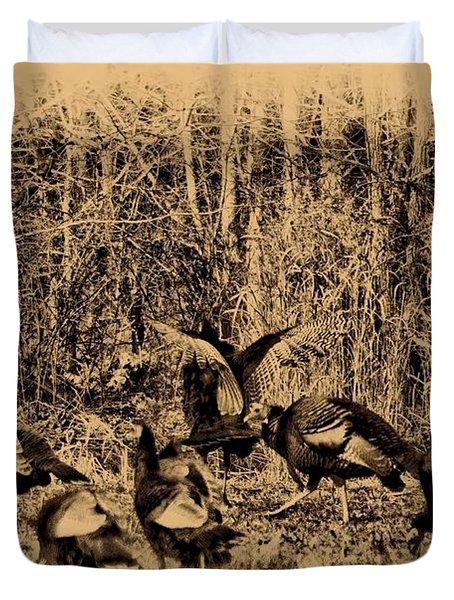 Wild Turkeys Duvet Cover by Bill Cannon