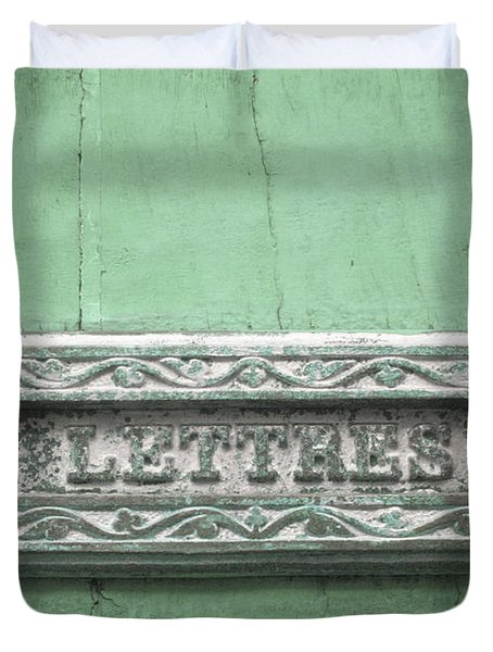 Will You Write - Jade Green Letter Box Duvet Cover by Nomad Art And  Design