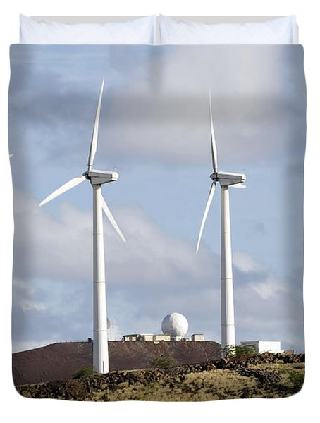 Wind Turbines At The Ascension Duvet Cover by Stocktrek Images