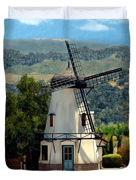 Windmill At Mission Meadows Solvang Duvet Cover by Kurt Van Wagner