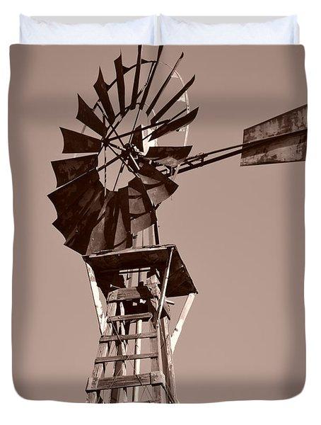Windmill Sepia Duvet Cover by Rebecca Margraf