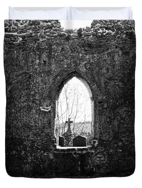 Window at Fuerty Church Roscommon Ireland Duvet Cover by Teresa Mucha