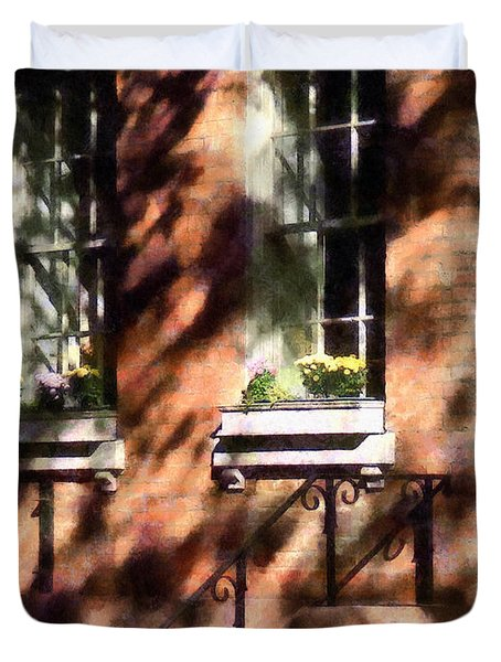 Window Boxes Greenwich Village Duvet Cover by Susan Savad