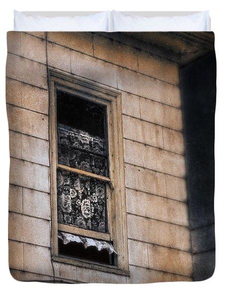 Window In Old House Stormy Sky Duvet Cover by Jill Battaglia