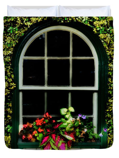Window On An Ivy Covered Wall Duvet Cover by Bill Cannon