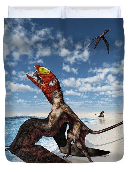 Winged Dimorphodon Pluck Fish Duvet Cover by Walter Myers
