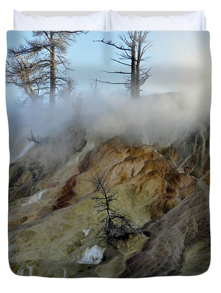 Winter At Yellowstone's Mammoth Terrace Duvet Cover by Bruce Gourley